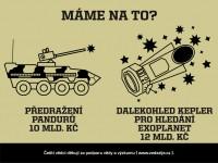 Předražení Pandurů 10 mld. Kč vs. dalekohled Kepler 12 mld. Kč