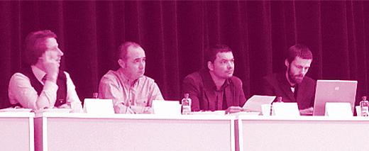Zleva Michal Doležel (Sokol Brno I), Jan Samohýl (Teologická fakulta JU v ČB), Martin Rosocha (Gymnázium Třeboň) a Šimon Heller (organizátor protestů).