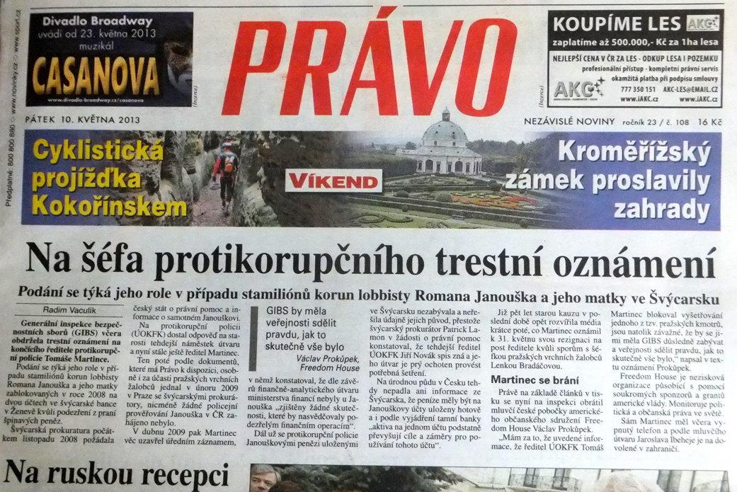 Titulní stránka deníku Právo, 10. 5. 2013, dvojklikem obrázek zvětšíte