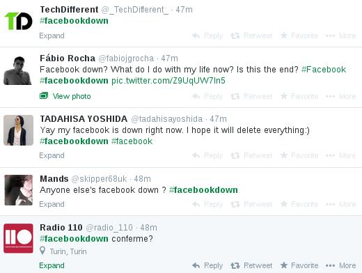 Twitter - uživatelé popisují pád Facebooku.