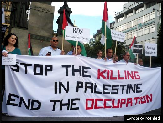 Protesty proti bombardování Gazy. Praha, 14. 7. 2014