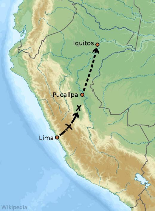 Trasa letu 508 společnosti LANSA, včetně vyznačeného místa havárie.