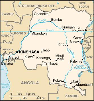 Mapa Demokratické republik Kongo, zdroj: CIA factbook
