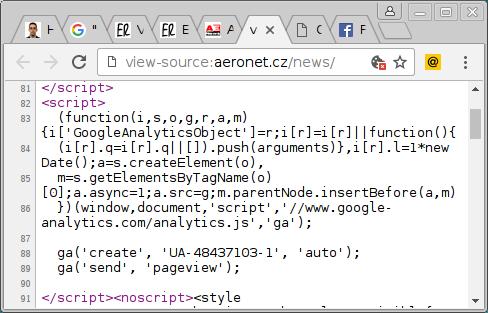 Zdrojový kór indexové stránky Aeronetu