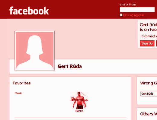 Původní facebookový profil Gert Rúdy, který obsahoval škodlivý a phishingový obsah
