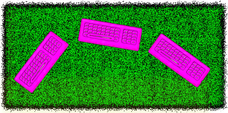 Klávesnice v trávě