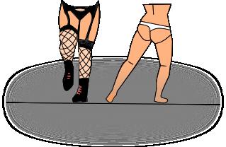 Ukázka tradičních českých plavek dle představ Iniciativy Martina Konvičky (IMK). Dívka vpravo chodila před malými dětmi bez horního dílu plavek, tedy do poloviny těla zcela obnažená.