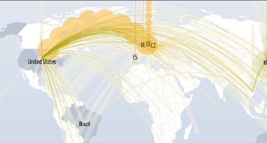 DDoS útoky vedené na Českou republiku 21. října 2017 v době konání voleb, zdroj: digitalattackmap.com