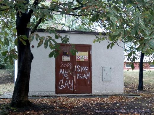 Sněženkovou ulici na Praze 10 a její bezprostřední okolí v centru Zahradního města zasáhl sprejer s protimuslimskými slogany.