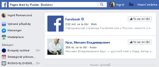 Facebookové stranky, kterým profil dal like.