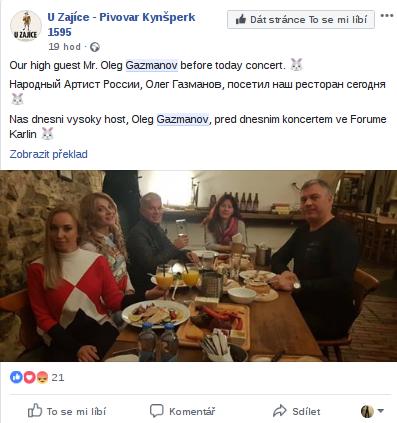 Restaurace se na sociální síti Facebook pochlubila návštěvou Olega Gazmanova.