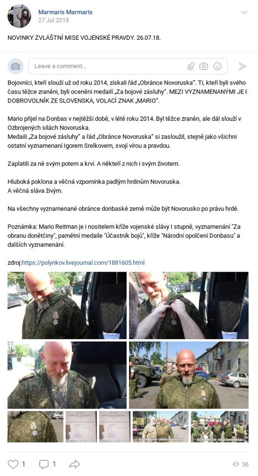 Marmalis Marmalis, proruský zpravodajský kanál na sociální síti VK, informuje o medaili pro Mária Reitmana. O Marmalisu Marmalisovi jsme již kdysi také psali, když vedl ještě proruské zpravodajství na sociální síti Facebook pod jménem Jiří Novák.