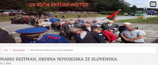 Screenshot na webovou stránku OV KSČM Frýdek-Místek, kde píší o Máriu Reitmanovi jako o hrdinovi Novoruska.