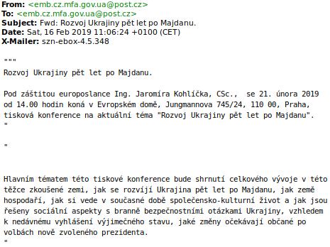 Pozvánka na tiskovou konferenci pořádanou českými komunisty, nicméně zaslaná z e-mailu, jež navozuje dojem, že patří českému Velvyslanectví Ukrajiny v Praze.