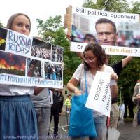 Demonstrace proti brutalitě režimu Vladimíra Putina