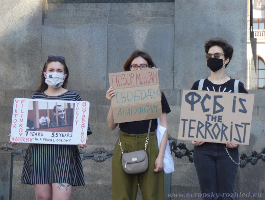 Demonstrace na podporu odsouzených anarchistů z ruské Sítě, Praha 22. 6. 2020