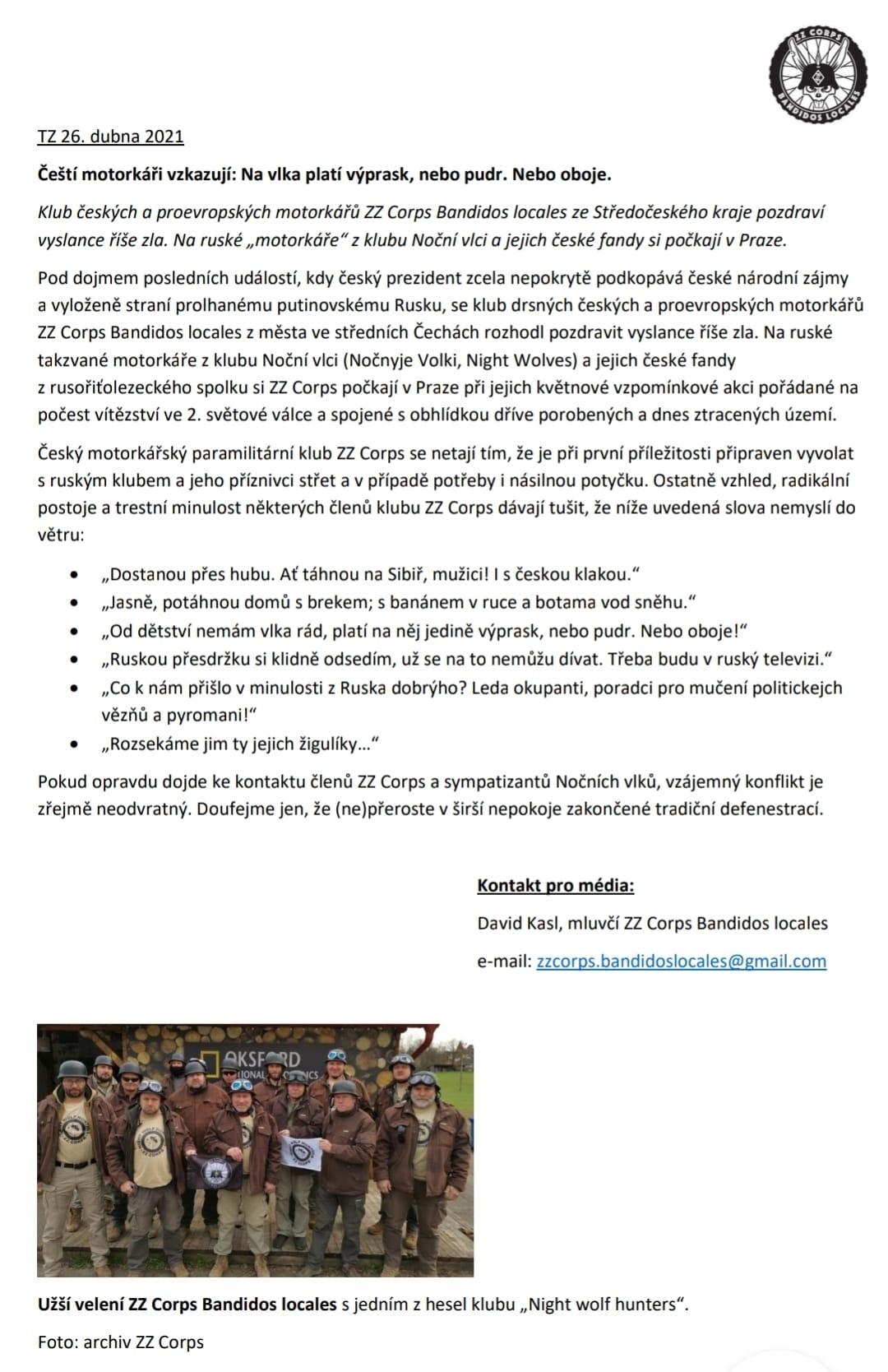 Prohlášení ZZ Corps Banditos locales pro média.
