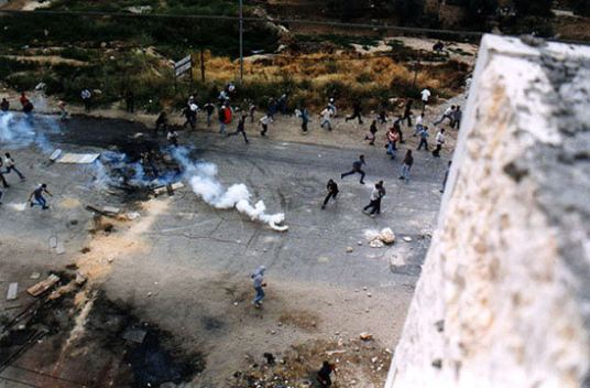 """Landscape"", Al-Nakba demonstrations, Ramallah, 14 May 1998. ©1999 Nigel Parry"